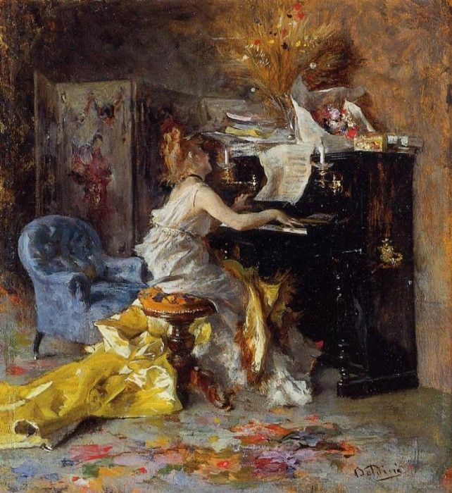 Boldini Giovanni Woman at a Piano. Джованни Больдини