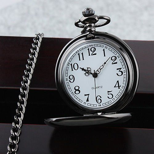 Vintage Black Chain Glossy Smooth Quartz Pocket Watch Arabic Numerals Dial Gift #Unbranded