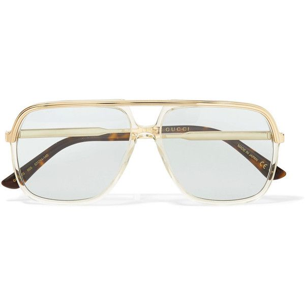 f7c890c945bc Gucci Squared aviator-style gold-tone and acetate sunglasses ($345) ❤ liked  on Polyvore featuring accessories, eyewear, sunglasses, glasses, blue lens  ...