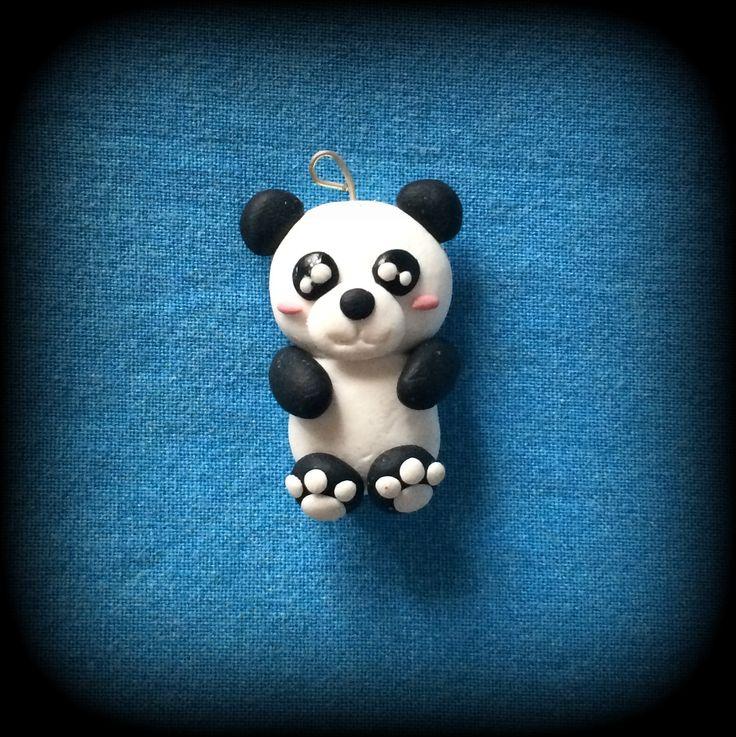 Fimo, Panda, disponibile come collana, portachiavi, braccialetto