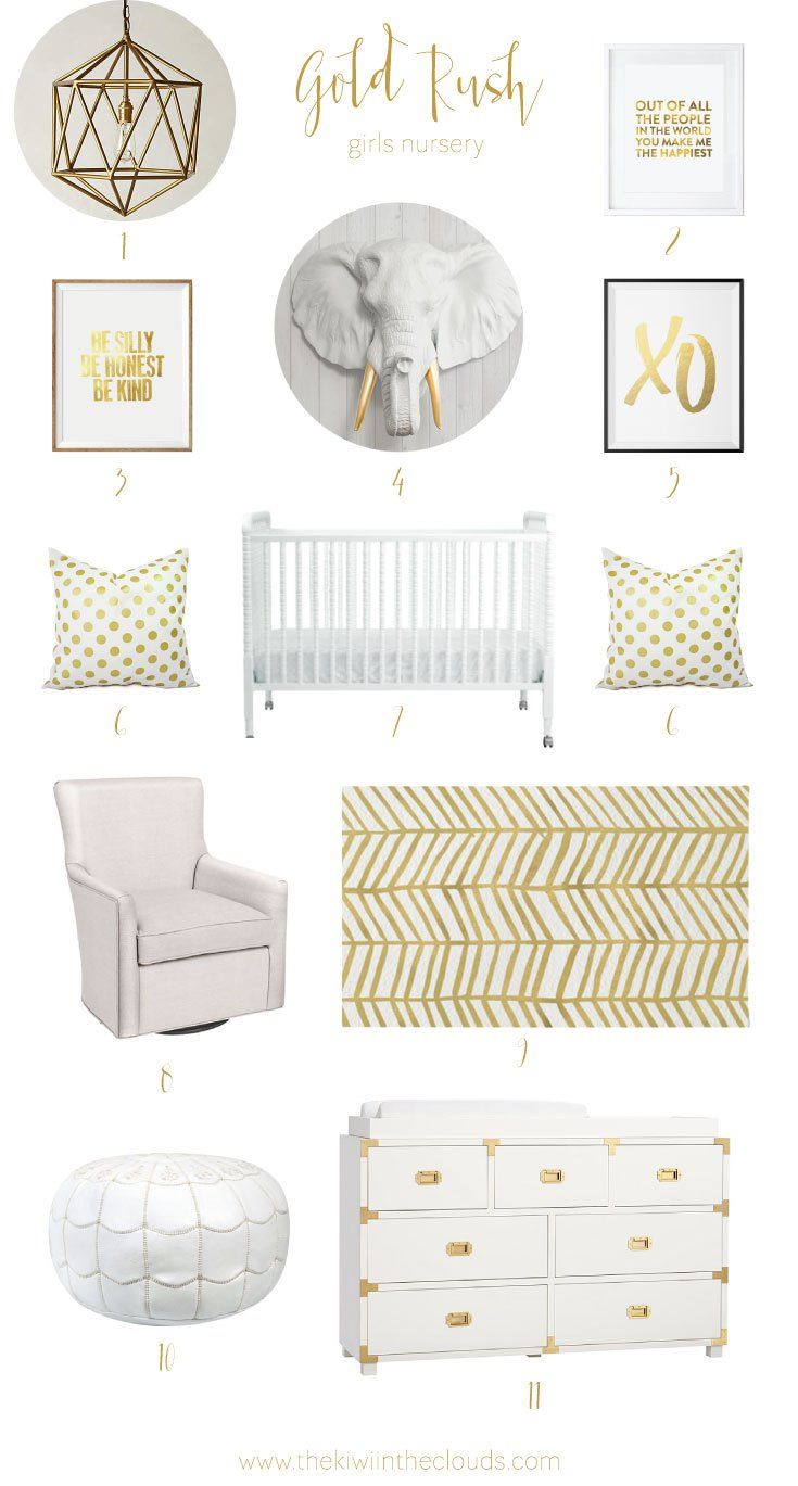This gold and white themed nursery for girls is absolutely on point for the baby girl (or mom!) that is fabulously girly! The room is modern, fresh and airy.