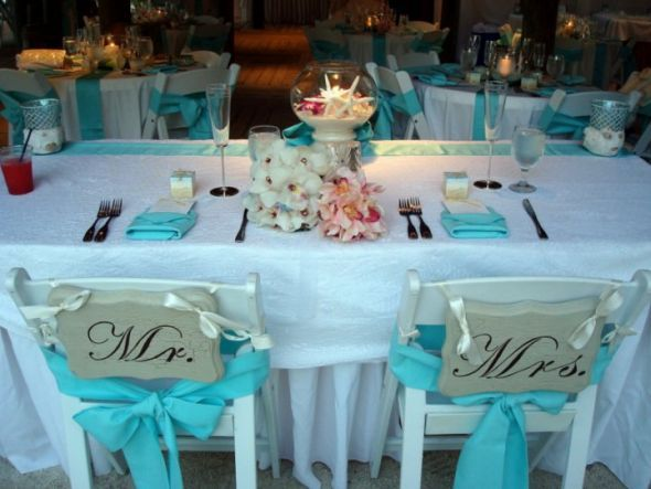 White Tiffany Chairs For Outdoor Wedding With Aqua Napkins Super Cute Weddi