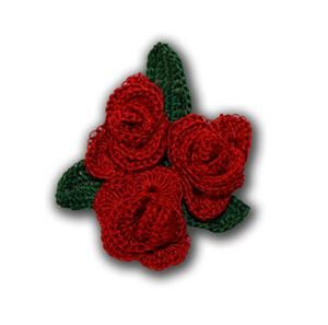 Broche de ganchillo 'Rosas'