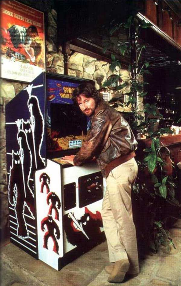 Steven Spielberg with his Space Invaders arcade machine.