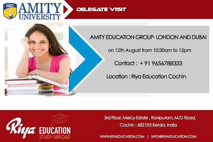 """""""Amity- Legacy of Excellence in Management Education"""" !!! Amity Education Group- London and Dubai Campus Delegate Visit at Riya Education Cochin on 12th August 2017. Meet the delegates Mr. Abhishek Kumar Mishra & Mr. Rajesh P.S for Spot Admission. Visit our website http://riyaeducation.com/contact/ #studyabroad #overseaseducation."""