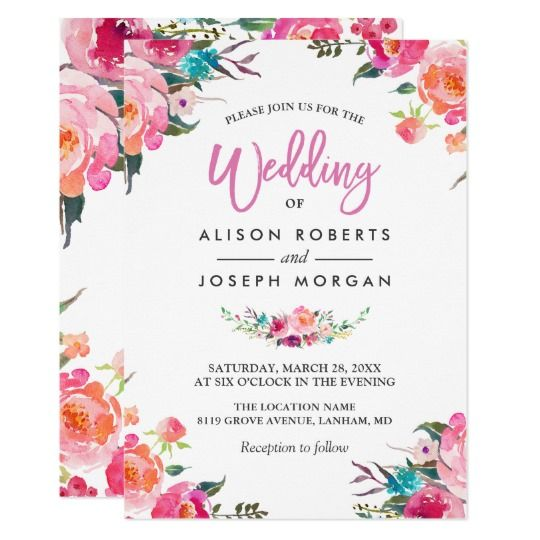 Beautiful Boho Chic Watercolor Flower Wedding Invitations