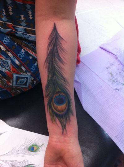 T s a peacock feather and the meaning behind is in greek for A feather tattoo meaning