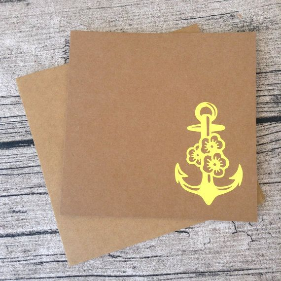 5 Gold anchor wedding invitations Gold anchor wedding invitation card set with envelopes Gold nautical wedding invitation nautical wedding (7.00 GBP) by ChilliPeppa