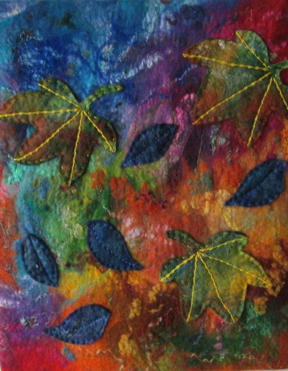 abstract felt art textile art art autumn by SueForeyfibreart, £85.00