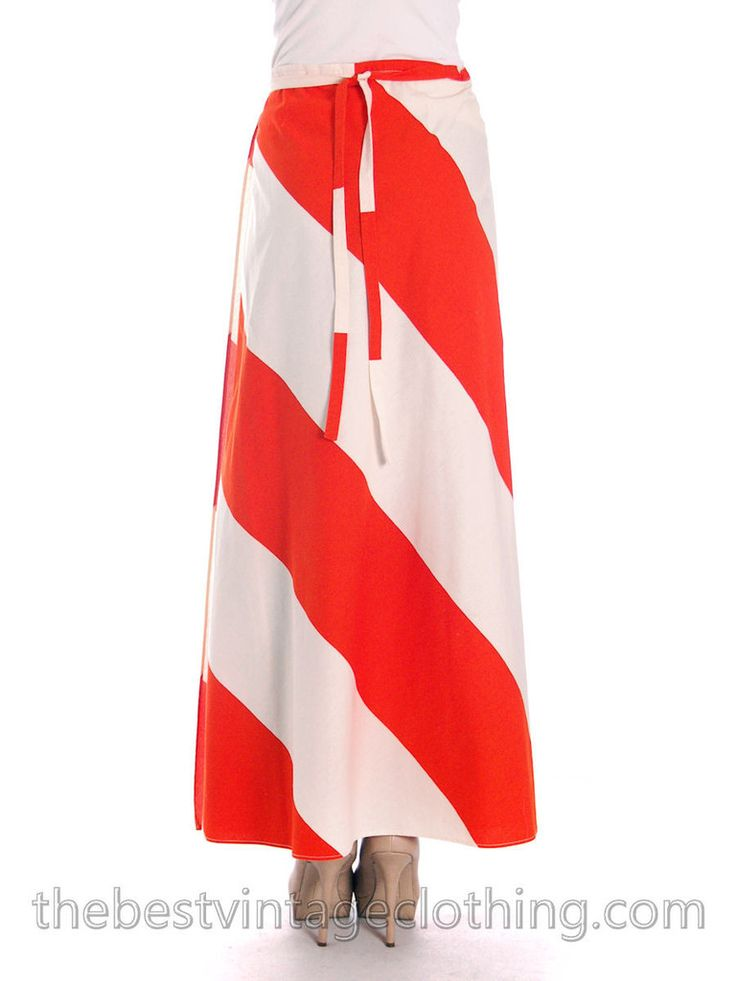 Vintage Vuokko 1970s Awning Stripe Maxi Wrap Skirt Orange & White #1970s #vintage – The Best Vintage Clothing