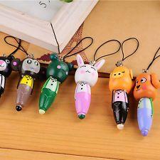 Cute Wooden Cartoon Animal Head Ballpoint Pen KeyChain Mobile Chain BallPen