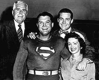 """""""Faster than a speeding bullet! More powerful than a locomotive! Able to leap tall buildings at a single bound! It's a bird! It's a plane! No, it's Superman! """" Cast Photo from 1952 TV series"""