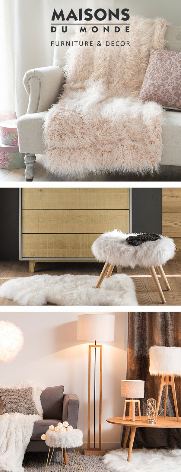 Get cosy this winter with furry decorations! We can't keep our hands off these fluffy decor pieces. In a faux fur cover, these home accessories will bring a little warmth into your living room or bedroom. Loving the fur? Discover our Faux Fur Edit | Maisons du Monde