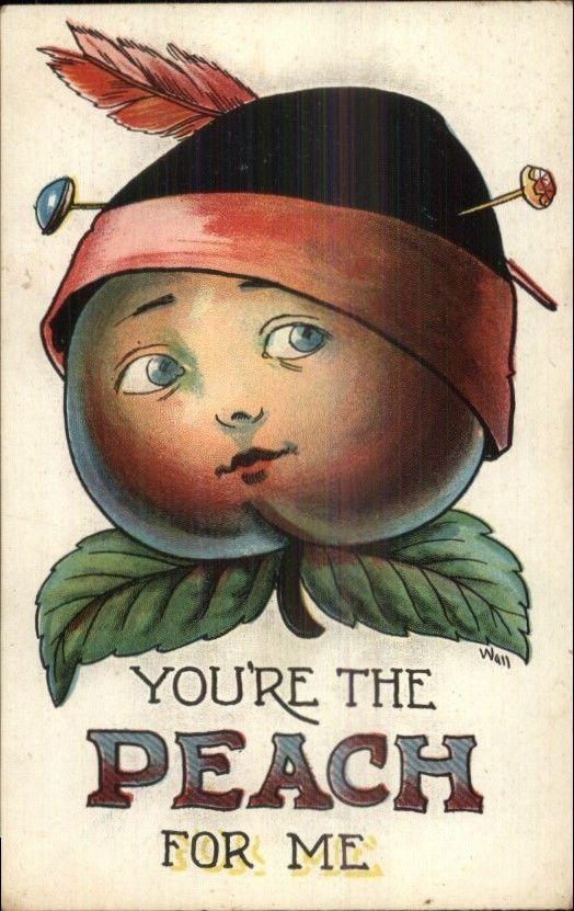 Fruit Head Fantasy YOU'RE THE PEACH FOR ME Bernhardt Wall c1910 Postcard