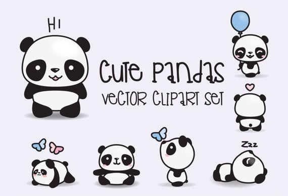 Prime Vector Clipart - Kawaii Pandas - Pandas mignons Clipart Set - vecteurs de haute qualité - téléchargement immédiat - Kawaii Clipart