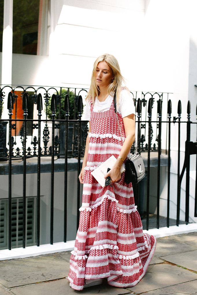 Great outfit idea for summer: pair your favorite plain white tee under a maxi dress.