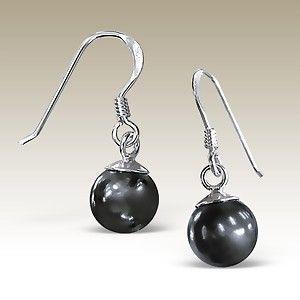 Silver Earrings - ERP-SWR8M DK.GRAY/10745high polish sterling silver jewelry