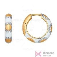 Серьги-кольца из золота с эмалью с натуральными бриллиантами, 1020730