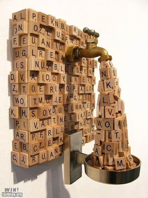 scrabble leak: Ideas, Sculpture, Craft, Inspiration, Stuff, Scrabble Art, Scrabble Tiles, Things