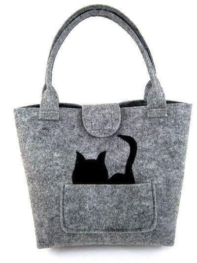 Katze Filz Handtasche Tasche für Frauen grau Filztasche