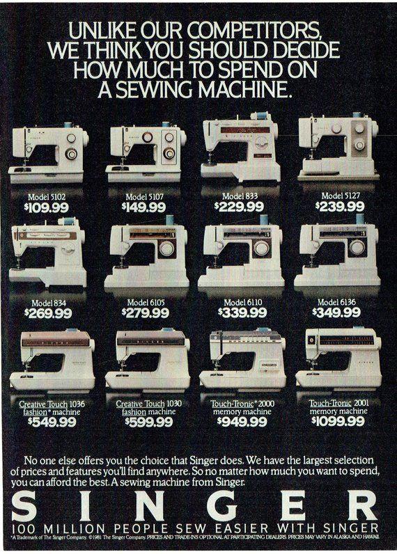 1980 Singer Sewing Machine : singer, sewing, machine, Advertisement, Singer, Sewing, Machines, Prices, Models, Sewer, Best,, Machine, Tension,
