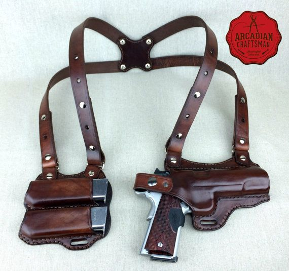Handmade 1911 Shoulder Holster with Magazine Carrier Custom sizes available, shoulder Rig