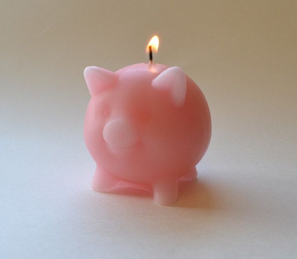 Pink pig candle. $4.00, via Etsy.