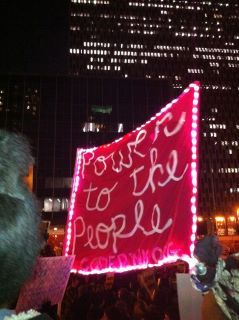 Power to the People banner at Occupy Wall Street march in New York City, 11/11