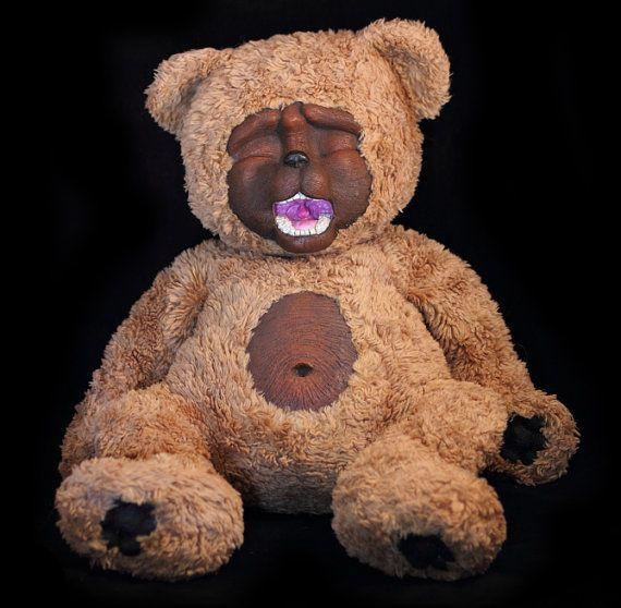 Teddy Bear plushie Scary gothic sculpt so sleepy but so cute handmade artist art doll sculpted fluffy furry creature great gift Neepy Niles