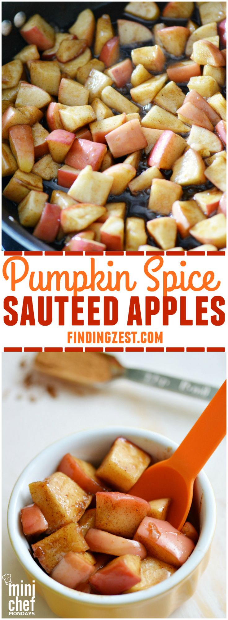 Pumpkin Spice Sauteed Apples: Just 4 ingredients are needed to make these delicious sauteed apples. Enjoy them as a snack as is or a topping for ice cream or pancakes!