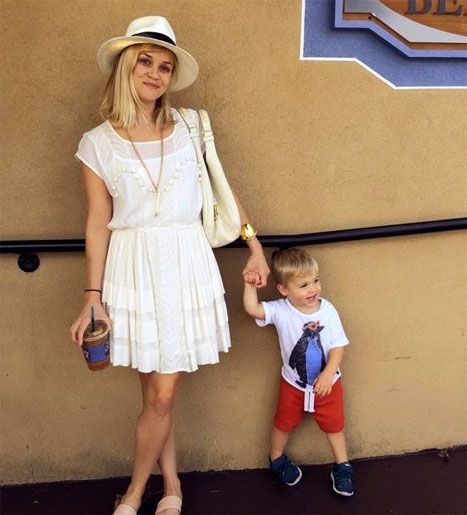 How cute!  Reese Witherspoon was bursting with pride as she shared a picture of herself and her son Tennessee James, 21 months, on Instagram. Their red, white and blue look is so adorable!