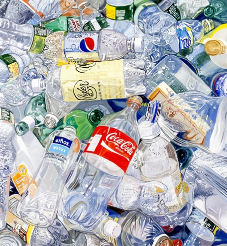 "Leslie Parke, ""Recycled Bottles"", oil on linen."