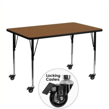 Flash Furniture Mobile 30''W x 48''L Rectangular Activity Table with 1.25'' Thick High Pressure Oak Laminate Top and Standard Height Adjustable Legs