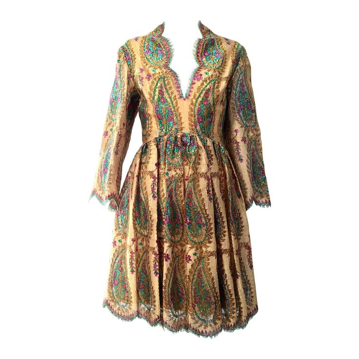 1960s BILL BLASS gold lace dress | From a collection of rare vintage day dresses at https://www.1stdibs.com/fashion/clothing/day-dresses/