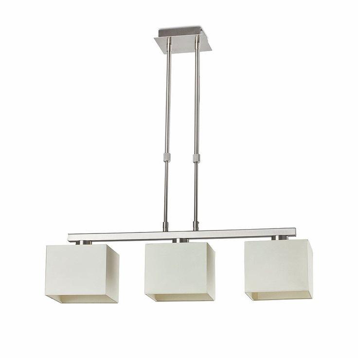 Lámpara de techo colgante Ombú. Es una lámpara de techo con tres pantallas textiles y estructura de acero.