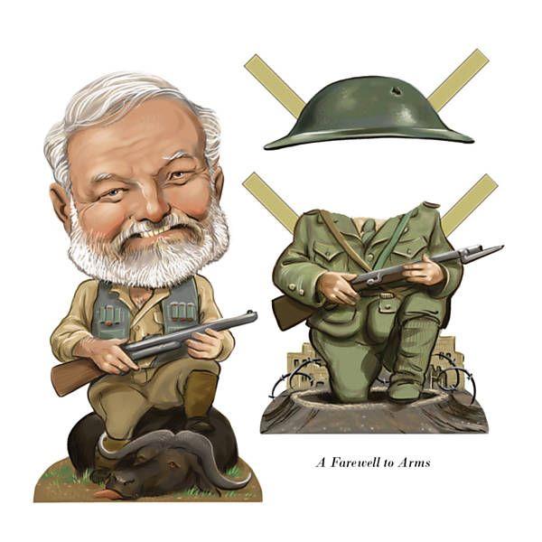 """O americano Ernest Hemingway (1899-1961) e o fardamento militar que remete ao livro """"Adeus às Armas"""" (1929)"""