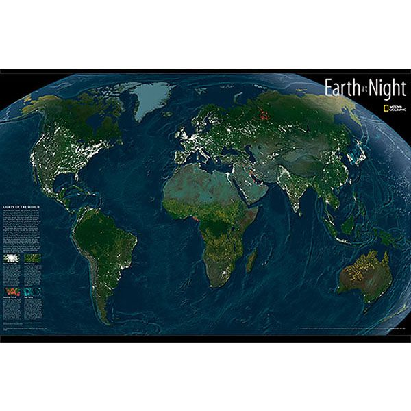 National Geographic Earth At Night Map - Map Decal