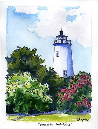 I love to find lighthouses. pen and watercolor landscapes                                                                                                                                                                                 More