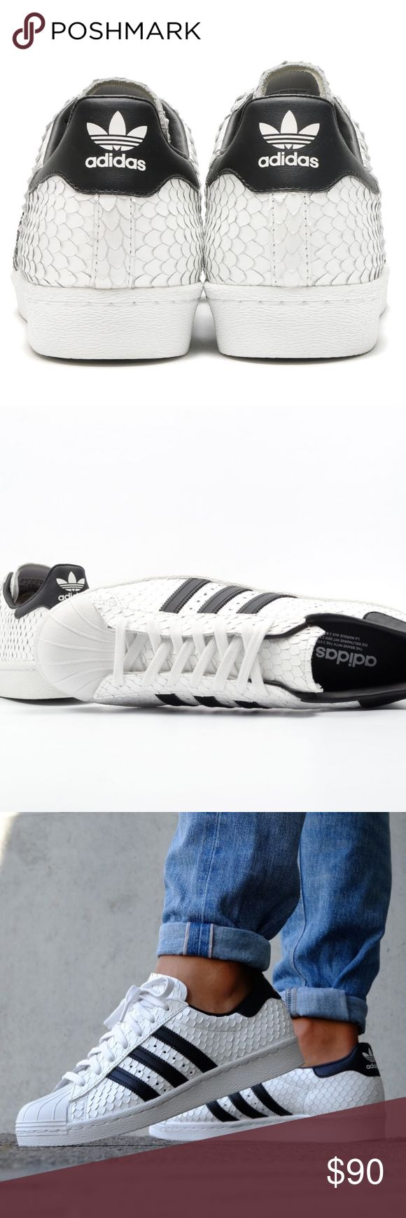 adidas Originals Superstar Snake White Sneakers Open to reasonable offers.   - Fishskin-look leather upper - Classic rubber shell toe - Leather lining - Printed Trefoil logo on heel patch  -Herringbone-pattern rubber cupsole adidas Shoes Sneakers