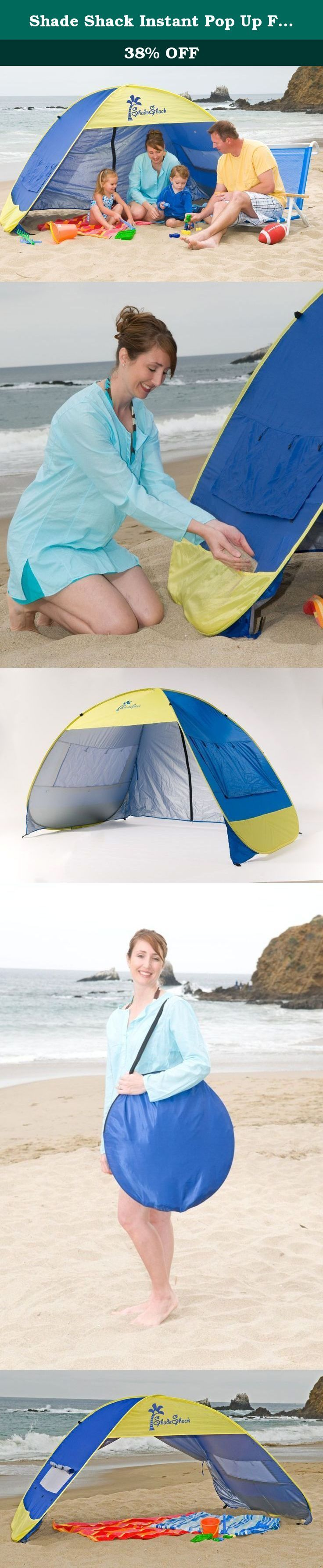 Shade Shack Instant Pop Up Family Beach Tent and Sun Shelter, Blue/Yellow. The Shade Shack pop up tent is the ultimate in sun protection. The unique pop up design can be set up and stowed in a matter of seconds. Now you can have your own private cabana wherever you enjoy outdoor fun. Perfect for the beach, backyard, parks or picnics. The zinc coated polyester material offers a ultra violet protection factor of 30+ which means it blocks out over 96% of harmful uv rays. Filling the pockets…