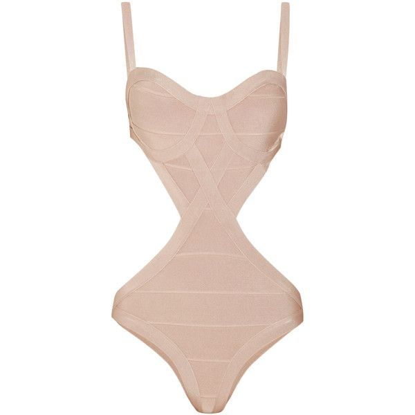Hervé Léger Cutout bandage swimsuit ($245) ❤ liked on Polyvore featuring swimwear, one-piece swimsuits, swimsuits, bikini, swim, bathing suits, beige, cut out bikini, cut out bathing suit and swim bikini