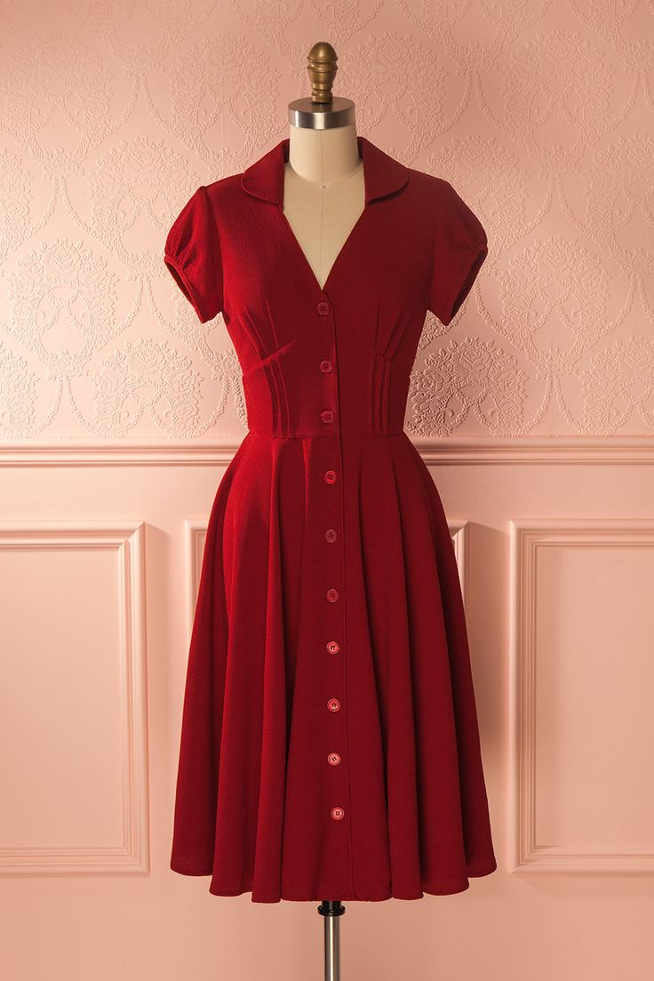 Adila Burgundy - Burgundy vintage style buttoned-up dress www.1861.ca