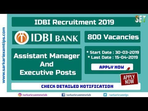 Idbi Recruitment 2019 Assistant Manager Executive 800 Vacancies