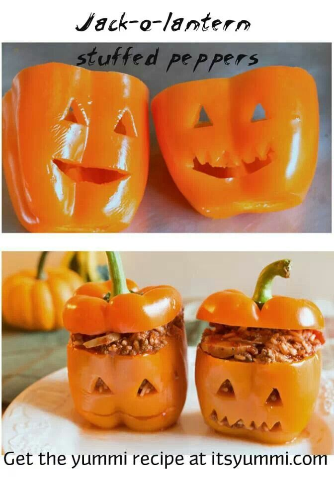 #Halloween dinner ideas: Jack O Lantern stuffed peppers. Adorable! - Re-pinned from Forever Friends Fine Stationery & Favors http://foreverfriends.carlsoncraft.com