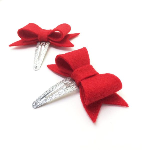 Christmas Hair Bows  Toddler Hair Clips  Red by MiniMayDesigns