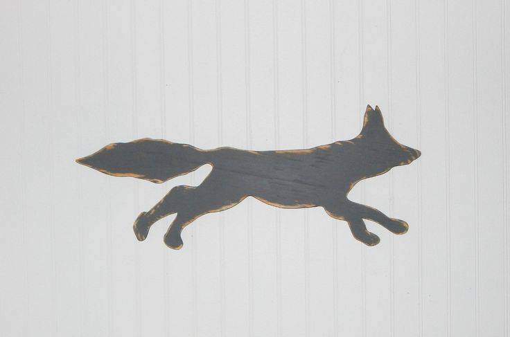 Fox Silhouette Sign Rustic Log Cabin Wall Decor Country Home Decor by HensNestTreasures on Etsy
