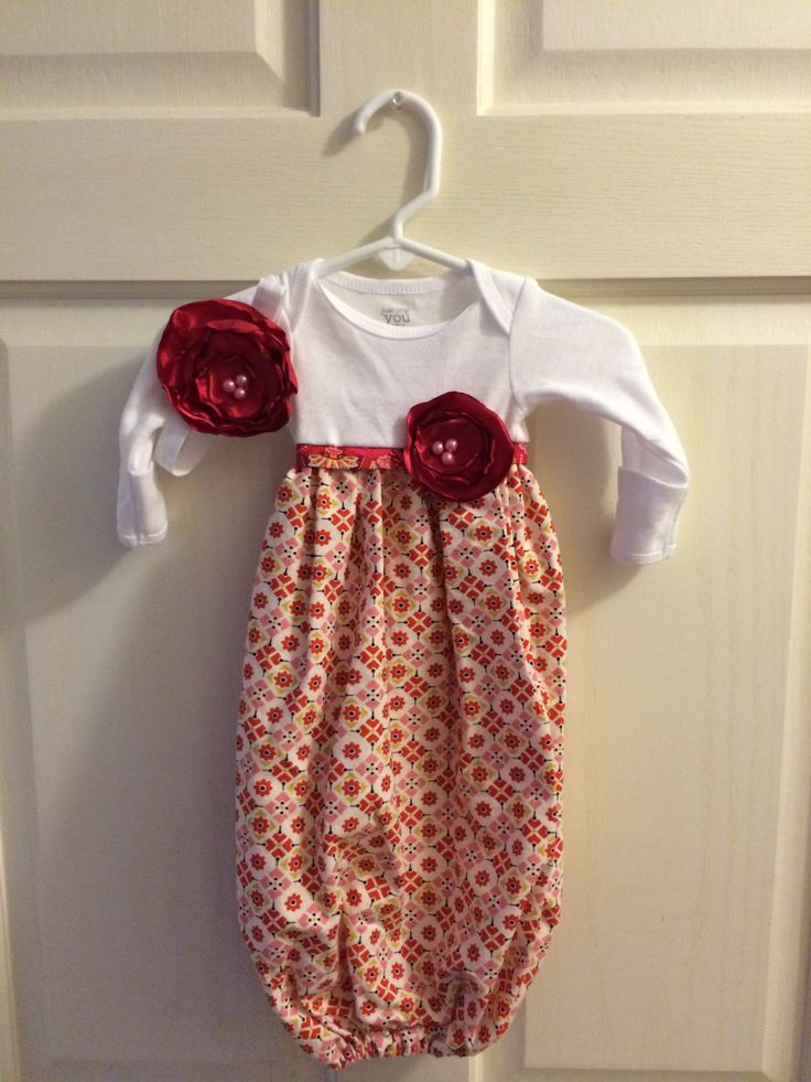 Baby+Gown+with+Coordinating+Rosette+Headband+by+LillyBuggers,+$35.00