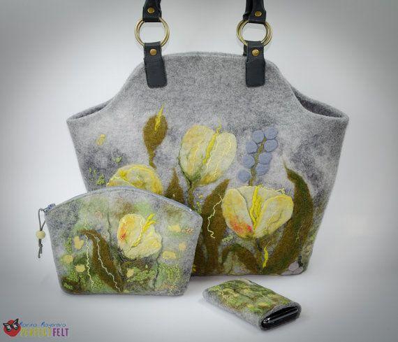Nuno felted handbag Melody Yellow felt bag van perfectfelt op Etsy