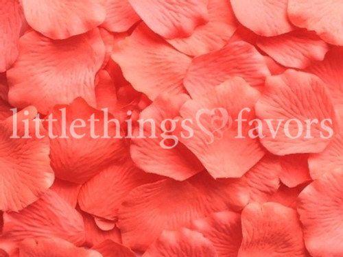 Décorations de mariage flamingo rose soie pétales de Rose, pétales de Rose artificiels Coral, 500, pétales pour les coureurs de mariage allée, Fake de pétales de Rose