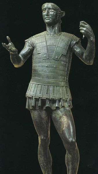 """Etruscans - Statue of Warrior in bronze, known as """"Mars of Todi"""". Late fifth century. B.C. Vatican City, Gregorian Etruscan Museum"""